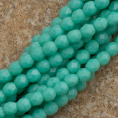 100 Czech Fire Polished 2mm Round Bead Matte Turquoise (63130M)