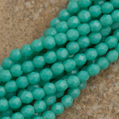 100 Czech Fire Polished 4mm Round Bead Opaque Turquoise (63130)