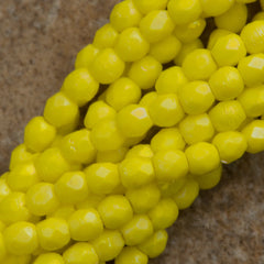 100 Czech Fire Polished 2mm Round Bead Matte Custard Luster Iris (83120MLR)