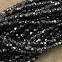 100 Czech Fire Polished 2mm Round Bead Hematite (14400)