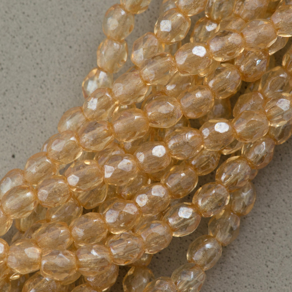 100 Czech Fire Polished 2mm Round Bead Transparent Champagne Luster (14413)