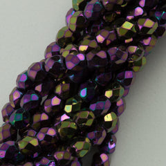 100 Czech Fire Polished 2mm Round Bead Purple Iris (21495)