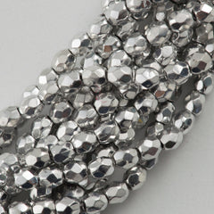 100 Czech Fire Polished 4mm Round Bead Silver (27000)
