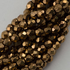 100 Czech Fire Polished 2mm Round Bead Bronze (90215)