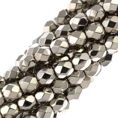 80 Czech Fire Polished 4mm Round Bead Nickel Plated (00030NI)