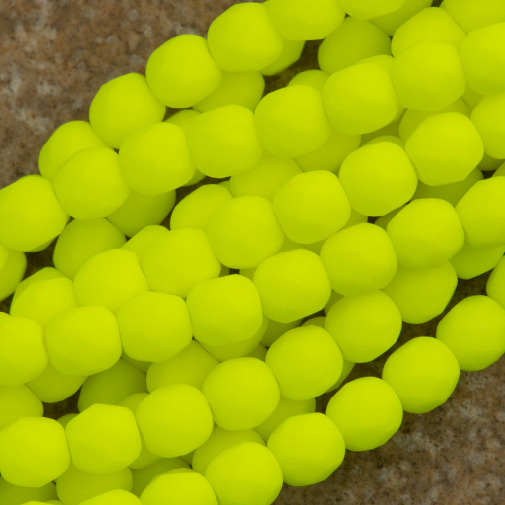 100 Czech Fire Polished 4mm Round Bead Neon Yellow (25121)