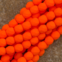 100 Czech Fire Polished 4mm Round Bead Neon Orange (25122)