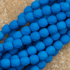 100 Czech Fire Polished 4mm Round Bead Neon Electric Blue (25127)