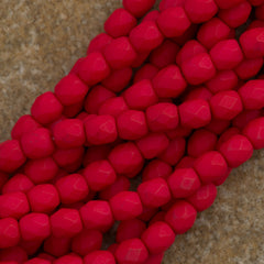 100 Czech Fire Polished 3mm Round Bead Saturated Red (25144)