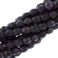 100 Czech Fire Polished 3mm Round Bead Polychrome Black Raspberry (29014)