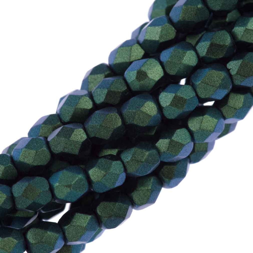 80 Czech Fire Polished 4mm Round Bead Polychrome Viridian (29044)