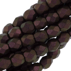 100 Czech Fire Polished 3mm Round Bead Polychrome Copper Ombre (29054)