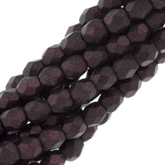 80 Czech Fire Polished 4mm Round Bead Polychrome Purple Bronze (29064)