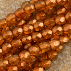 100 Czech Fire Polished 4mm Round Bead Halo Sandalwood (29253)