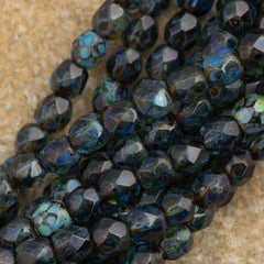 100 Czech Fire Polished 4mm Round Bead Sapphire Picasso (30050T)