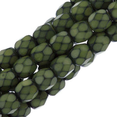 76 Czech Fire Polished 4mm Round Bead Snake Lime (39051)
