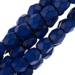 76 Czech Fire Polished 4mm Round Bead Snake Cobalt Blue (39067)