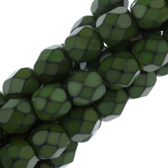 76 Czech Fire Polished 4mm Round Bead Snake Olivine (39075)