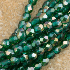 100 Czech Fire Polished 4mm Round Bead Viridian Celsian (60230Z)