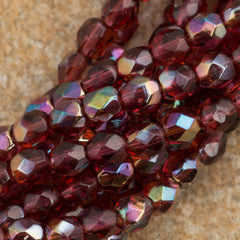 100 Czech Fire Polished 4mm Round Bead Fuchsia Celsian (70350Z)