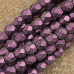 100 Czech Fire Polished 4mm Round Bead Metallic Suede Pink (79086)