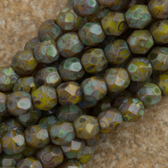 100 Czech Fire Polished 4mm Round Bead Chartreuse Picasso (84020T)