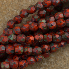 100 Czech Fire Polished 4mm Round Bead Opaque Bright Orange Picasso (93130T)