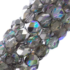 80 Czech Fire Polished 4mm Round Bead Crystal Silver Rainbow (98530)