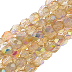 80 Czech Fire Polished 4mm Round Bead Crystal Yellow Rainbow (98531)