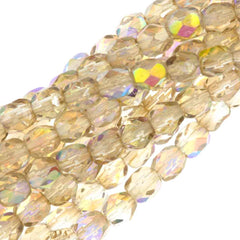 80 Czech Fire Polished 4mm Round Bead Crystal Lemon Rainbow (98534)