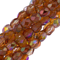 80 Czech Fire Polished 4mm Round Bead Crystal Orange Rainbow (98535)