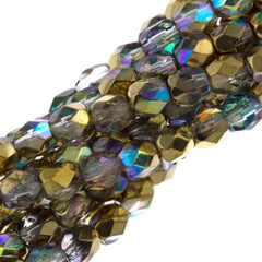 80 Czech Fire Polished 4mm Round Bead Crystal Golden Rainbow (98536)