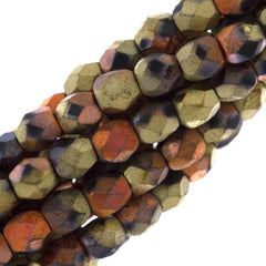 80 Czech Fire Polished 4mm Round Bead Matte California Gold Rush (98842)
