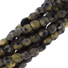 80 Czech Fire Polished 4mm Round Bead Matte California Graphite (98847)