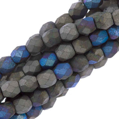80 Czech Fire Polished 4mm Round Bead Matte Glittery Graphite (98855)