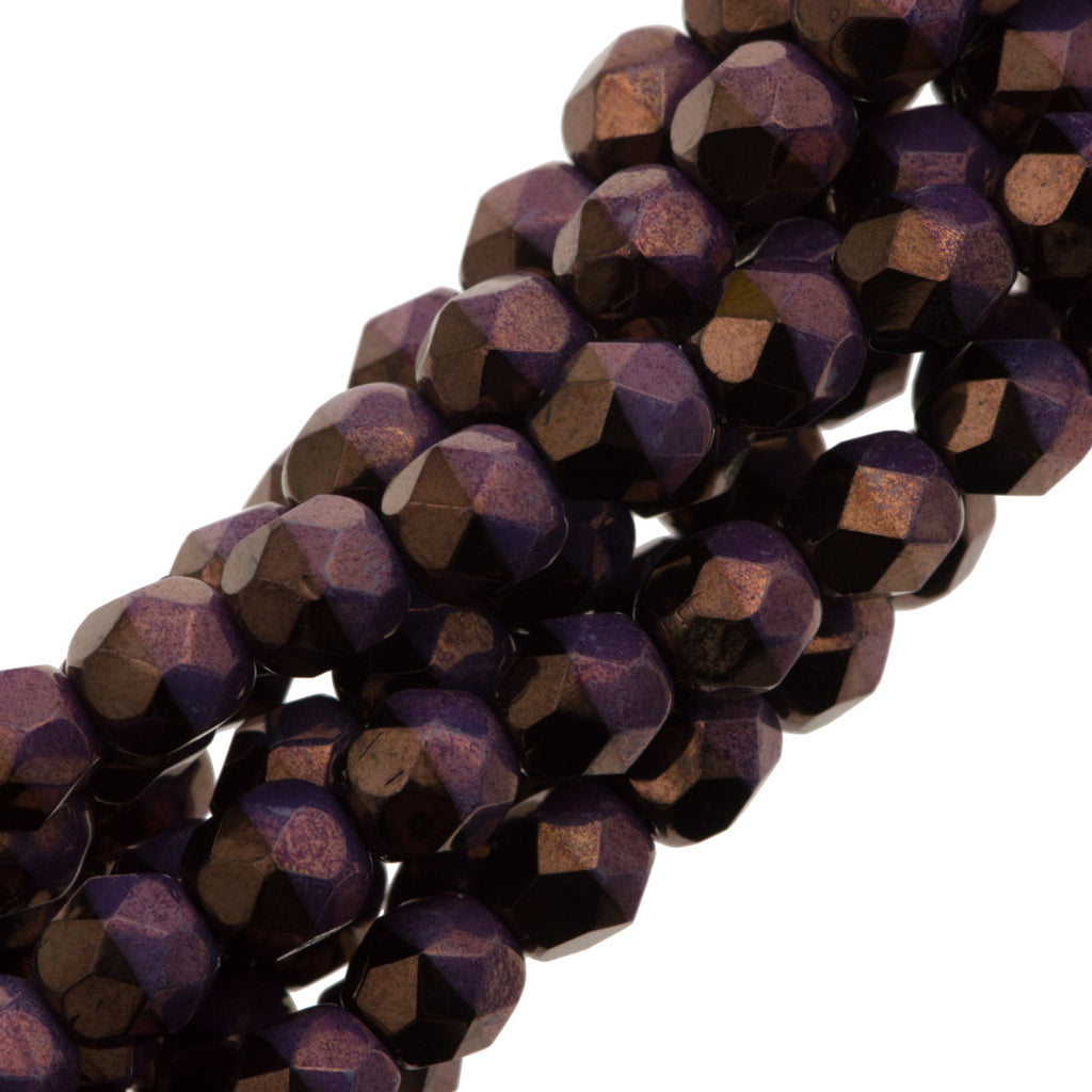 80 Czech Fire Polished 4mm Round Bead Duet Jet Purple Vega (03849E)