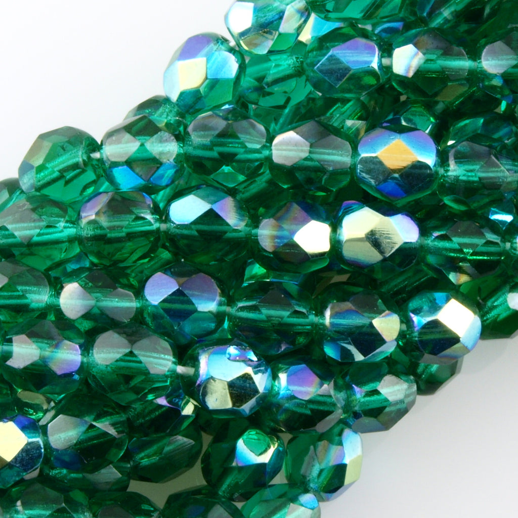 100 Czech Fire Polished 4mm Round Bead Emerald AB (50730X)