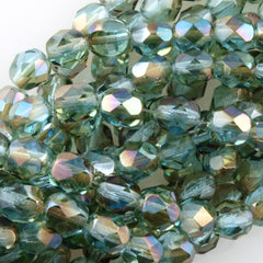 50 Czech Fire Polished 6mm Round Bead Aquamarine Celsian (60010Z)