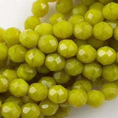 50 Czech Fire Polished 8mm Round Bead Chartreuse (84020)