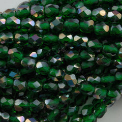 100 Czech Fire Polished 4mm Round Bead Emerald Celsian (50140Z)