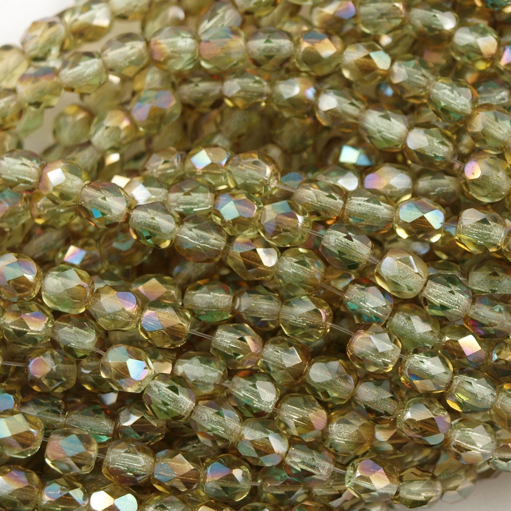 100 Czech Fire Polished 4mm Round Bead Chrysolite Celsian (50800Z)
