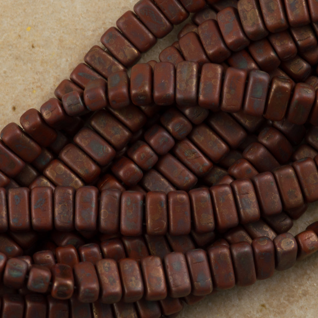 50 CzechMates 3x6mm Two Hole Brick Beads Umber Copper Picasso (13610CT)