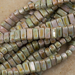 50 CzechMates 3x6mm Two Hole Brick Beads Opaque Ultra Green Luster (65455P)