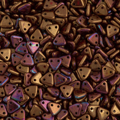 15g CzechMates 6mm Two Hole Triangle Beads Opaque Dark Bronze Luster Iris 14415R