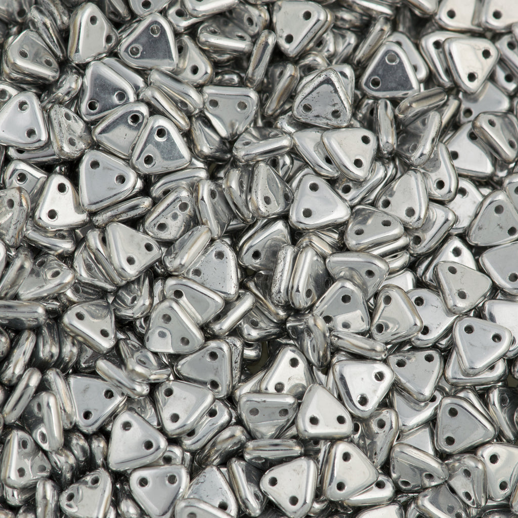 CzechMates 6mm Two Hole Triangle Beads Silver 8g Tube (27000)