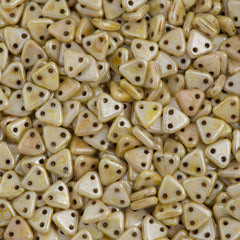 15g CzechMates 6mm Two Hole Triangle Beads Opaque Luster Cream Picasso (65401P)