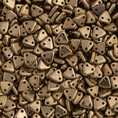 CzechMates 6mm Two Hole Triangle Beads Bronze 8g Tube (90215)