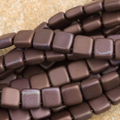 50 CzechMates 6mm Two Hole Tile Beads Matte Chocolate Brown Bronze Vega (13720YM)