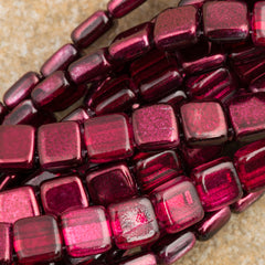 50 CzechMates 6mm Two Hole Tile Beads Mirror Cranberry (15226)