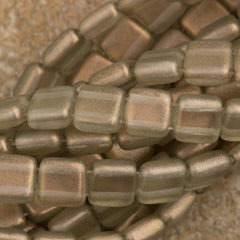 50 CzechMates 6mm Two Hole Tile Beads Halo Linen (29270)